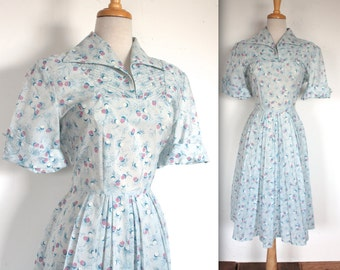 Vintage 1950's Dress // 50s Powder Blue Sheer Atomic Print Summer Dress // Rockabilly Day Dress