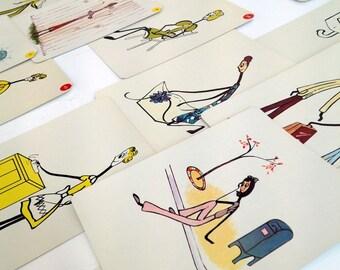 Qty 20 Vintage large flashcards- Stick Figures doing housework- set of 20