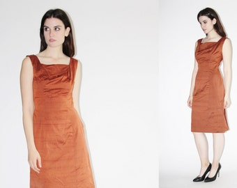 1950s Cocktail Dress - Vintage 50s Dress - The Copper Stone Dress  - 8058