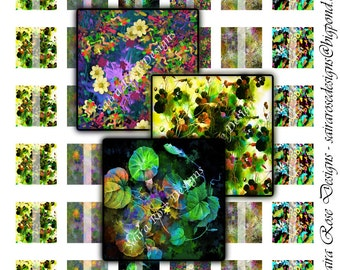 Digital Download Collage Sheet - 1x1 inch Square - Garden Themed Printable Images