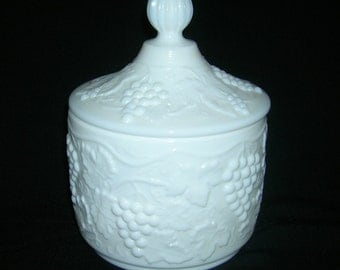 Vintage Imperial Milk Glass Covered Candy Jar Vintage Grape Pattern With Original Sticker