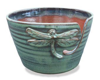 Dragonfly Yarn Bowl, Yarn Bowl, Green Dragonfly