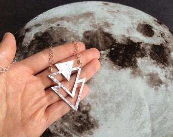 Metal Triangle pendant necklace, geometric pendant necklace