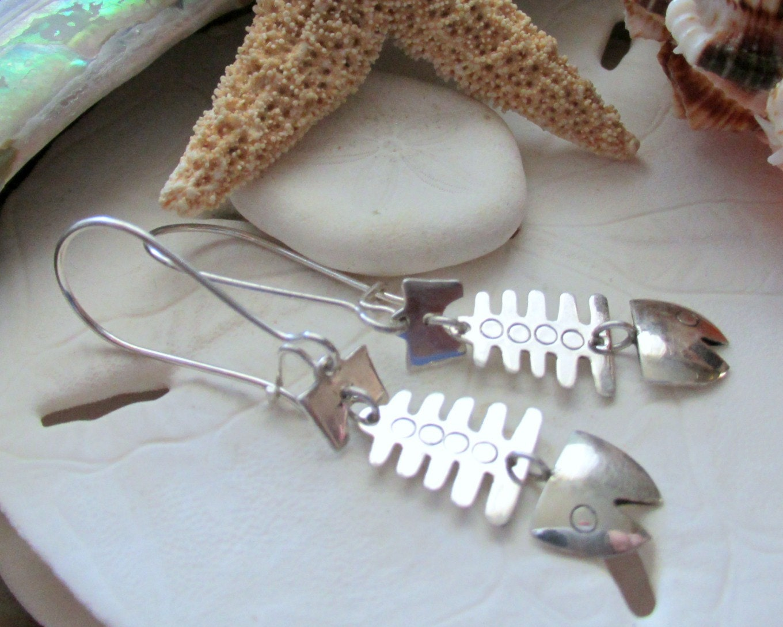 Sterling silver fish bone dangle earrings for Fish bone earrings