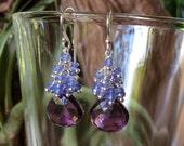 Tanzanite And Quartz Cluster Earrings                                      Natural gemstones sterling silver Calming Chakra