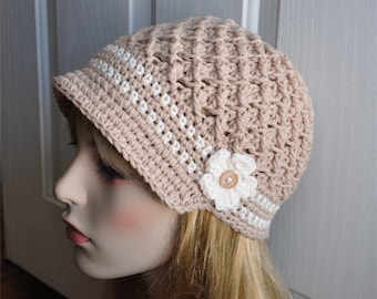 Tan Crochet Newsboy brim hat, Crochet Beanie with flower ...