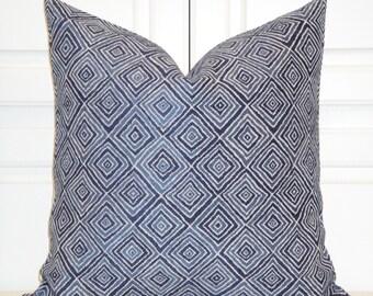 Decorative Pillow Cover  -  Chenille Accent Pillow - Throw Pillow - Diamond Geometric - Lattice - Navy - Blue