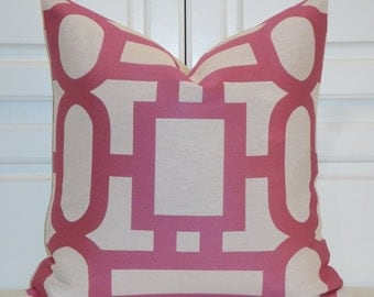 Decorative Pillow Cover - Fuchsia Pillow - Trellis Pillow - Lattice - Geometric - Candy Pink Pillow