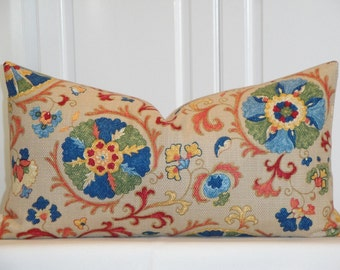 "Beautiful Decorative Pillow Cover - Fits 12"" x 22""  - Suzani - Throw Pillow - Accent Pillow - Red - Blue - Olive Green"