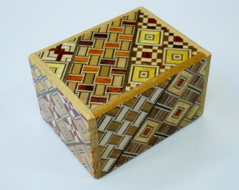 Japanese Puzzle box (Himitsu bako)- 60mm (2.3inch) Open by 10steps Yosegi