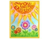 Childrens Wall Art for GIrls You Are My Sunshine,10x8 PRINT, Flower Art for Girls Roon, Nursery Decor