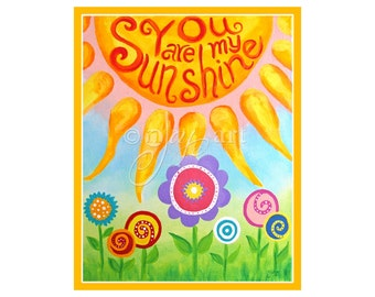 Childrens Wall Art for GIrls You Are My Sunshine,10x8 PRINT, Flower Art for Girls Roon, Nursery Decor