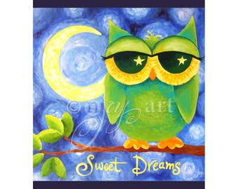 Cute Owl Art Print for Nursery, Sweet Dreams Owl, 8x10 inch print, Whimsical Owl Art for Kids rooms