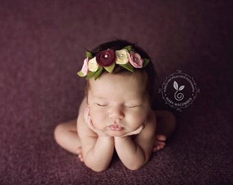 OOAK Secret Garden Berry Wool Felt Posies  Fairy Headband Photography Props Weddings Flower Girls