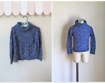 vintage child's sweater - SPACE BLUE space dye turtlenecks / 5T-6yr