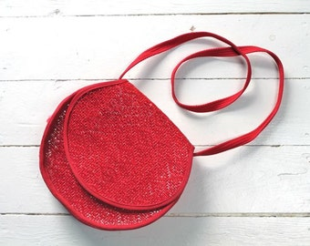 vintage 1970s straw bag - VANESSA cherry red woven bag