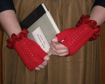 Red fingerless gloves knitted lace wrist warmers women's gloves with ruffled cuff