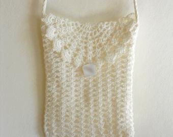 Crochet wedding purse white lace clutch with long strap bridal shoulder bag