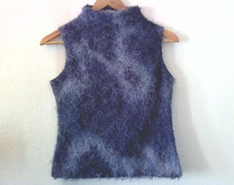 Vintage / Fuzzy Thin Sweater Top / Lightweight / Shaggy / Mock Turtleneck / Indie / Grunge / Street Style / Blue Swirl Girl
