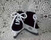 Ice Hockey Skates Baby Infant Newborn  Crochet Booties Unique Baby Shower Gift *PHOTO PROP*