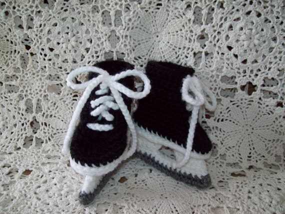 Ice Hockey Skates Baby Infant Newborn Crochet Booties Unique