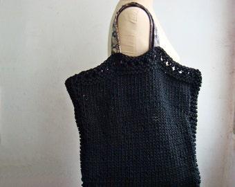 Black Knit Tote Bag, with Real Leather Handles