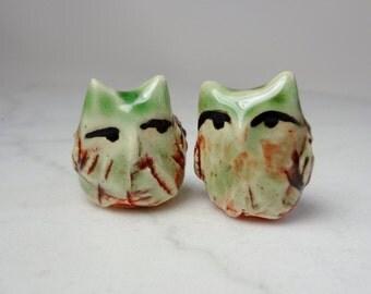 Owl Terrarium Figurine - Tiny Miniature Owl - Ceramic Figurine - Pottery Owl Miniature  -set of 2 (studio choice)