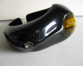 Vintage Black Plastic Bangle with Stone