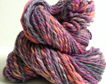 "Handspun Yarn -- ""Tickled Pink"" -- 100% Polwarth -- 98 yards heavy worsted weight"
