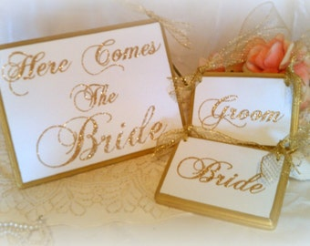 Wedding Signs Glittered FAIRYTALE Wedding PHOTO PROPS Gold Wedding  (Set of 3 Signs)