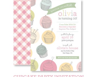 Cupcake Party Invitation - Digital Printable