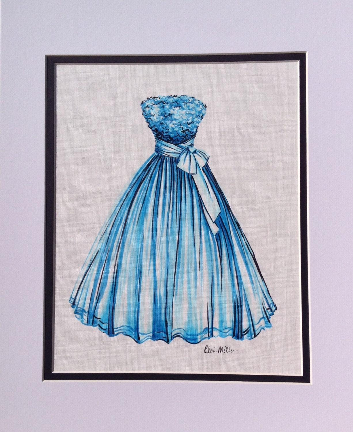 Fashion illustration dress painting fashion drawing blue