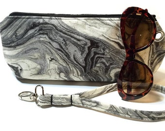 Clutch Wristlet Handbag Detachable Strap, Abstract Swirl Print in Black, White and Silver