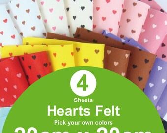 4 Printed Hearts Felt Sheets - 20cm x 20cm per sheet - Pick your own colors (H20x20)