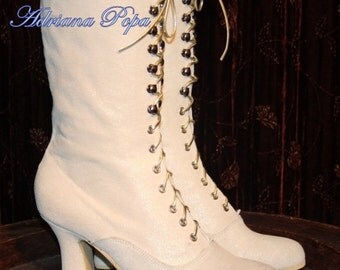 Victorian wedding  Boots Victorian Booties in Glitter Ivory leather Bridal Boots Lace up Boots White Glitter Ankle Boots Custom shoes