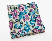 Men's Cotton Pocket Square in a bright turquoise and raspberry floral pattern