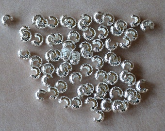 100pcs Crimp Cover Silver Brass Round 4mm Corrugated Knot Covers Crimps