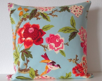 Waverly Candid Moment Glacier sky blue red green colorful floral birds decorative pillow cover