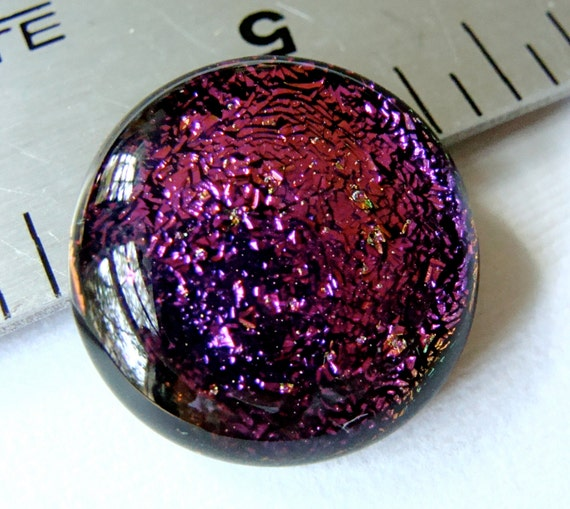Fused Dichroic Glass Cabochon 17 mm Fuchsia Pink