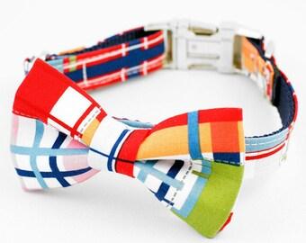Bow Tie Dog Collar - Red Madras