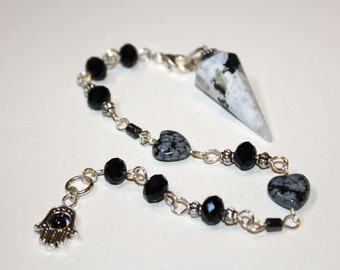 3 in 1 Zebra Jasper gemstone pendulum / pendant / bracelet - Feng Shui Jewelry- New Age Jewelry - Reiki Energy - Chakra Balancing