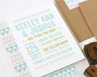 Boho Save the Date - Rustic Chic Save the Date -  Desert Save the Date - Flat Printing - Keeley - SAMPLE