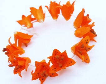 Miniature Polymer Clay Lily Handcrafted Flowers Beads, 12 pcs.