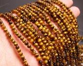 Tiger eyes 4 mm round - 103 beads - 1  full strand - RFG69
