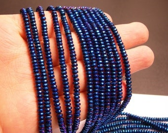 Hematite Mystic Blue - 2x4mm faceted rondelle beads - full strand 184 beads - A quality - PHG132