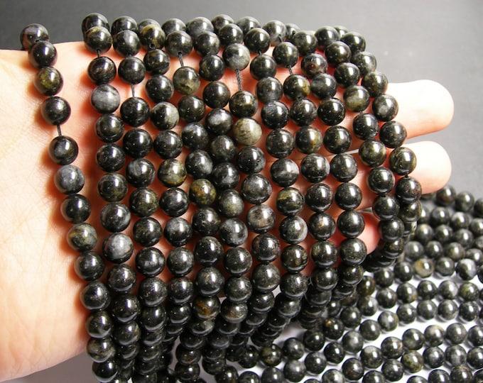Arfvedsonite - 8mm round - A quality - 48 beads per strand -  1 full strand - very  rare - RFG130