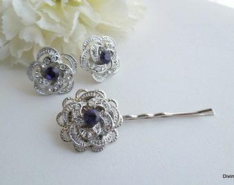 Bridal Hair Pin Set,Earrings Hair Pin Set,Wedding Hair Pin Set,Bridal Rhinestone Hair Pin,Wedding Rhinestone Hair Pin,Purple,Rose,ROSELANI