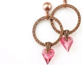 Soft Pink Earrings Antique Copper Heart Jewelry Valentine's Day Gift For Women - Copper and Rose Pink Crystal Heart Valentine's Jewelry
