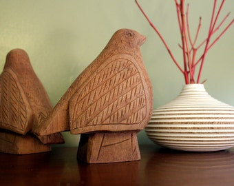 Hand Carved Ornate Bird Sculpture or Paperweight from Teak Hardwood Home Decor