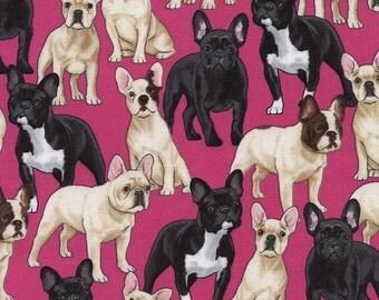 French Bulldog Fabric/ Pink Timeless Treasures Novelty Fabric